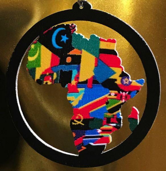 Ohrring Afrika Holzkreis Flaggen
